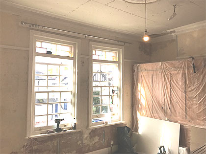 Plastering preparation of the walls and ceilings